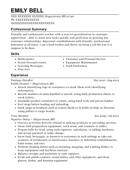 Package Handler resume example Maryland