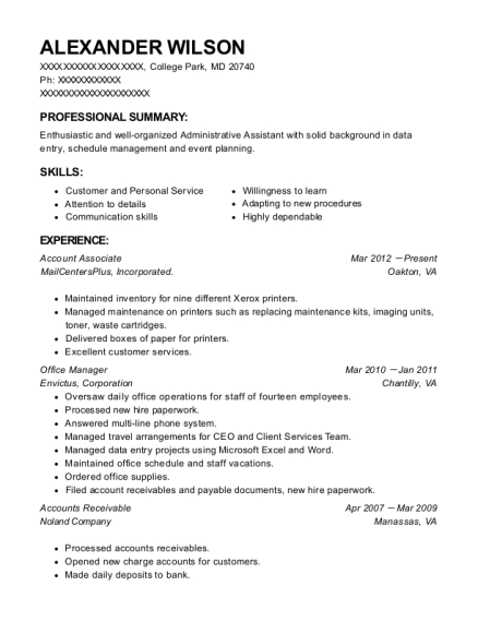 Account Associate resume template Maryland