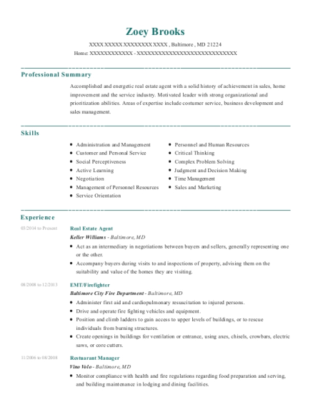 Real Estate Agent resume example Maryland