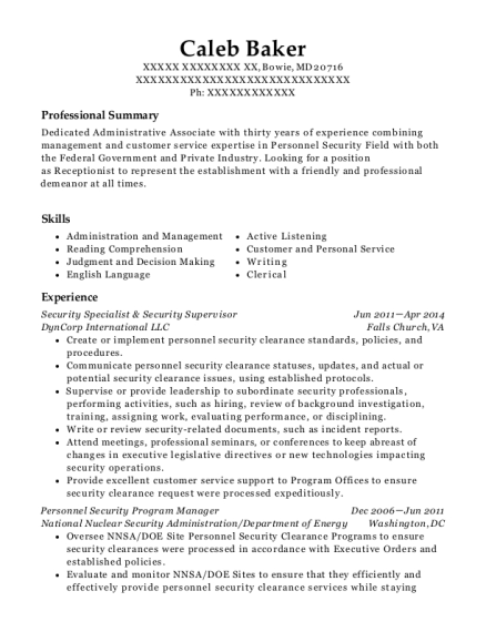 Security Specialist & Security Supervisor resume format Maryland