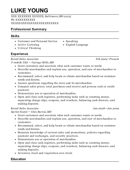 Retail Sales Associate resume sample Maryland