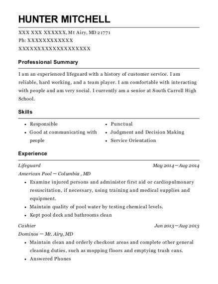 Lifeguard resume example Maryland