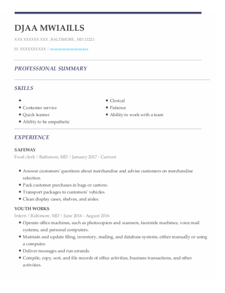 Food Clerk resume sample Maryland