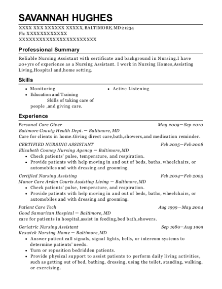 Personal Care Giver resume sample Maryland