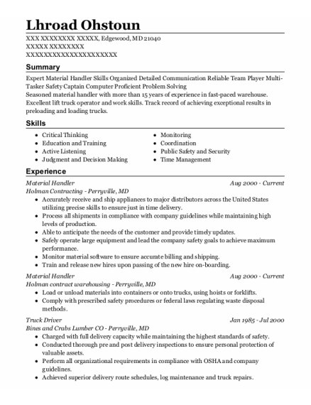Material Handler resume sample Maryland