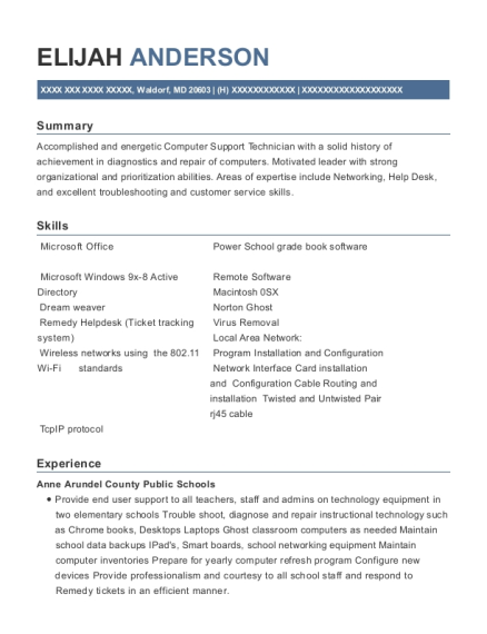 Computer Lab Instructor resume template Maryland