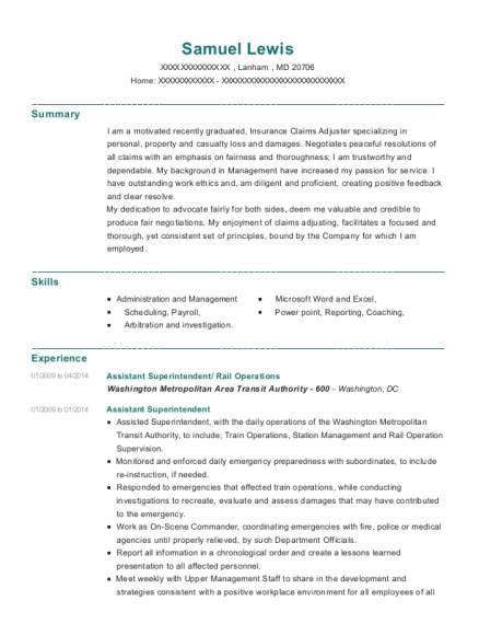 Assistant Superintendent resume example Maryland