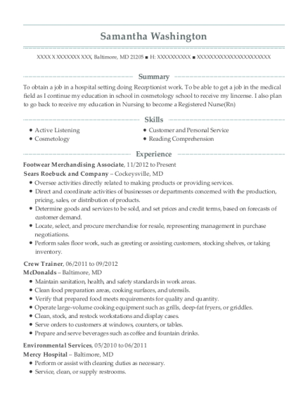 Footwear Merchandising Associate resume format Maryland
