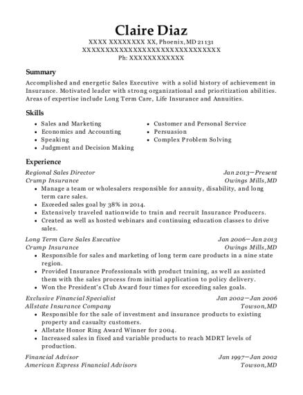 Regional Sales Director resume sample Maryland