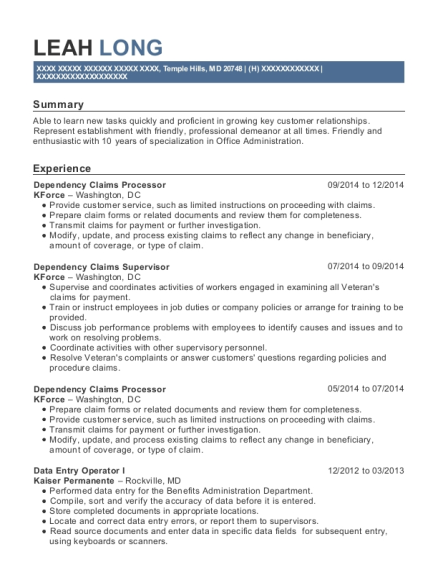Dependency Claims Processor resume format Maryland