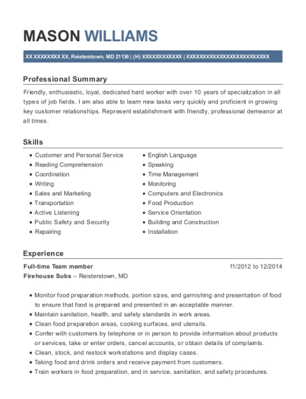 Full time Team member resume format Maryland