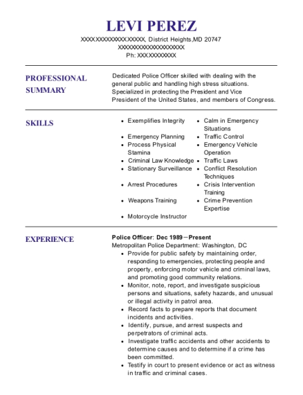 Police Officer resume example Maryland