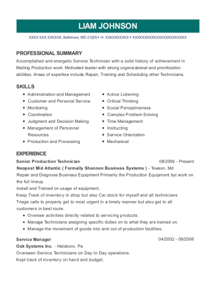 Senior Production Technician resume format Maryland
