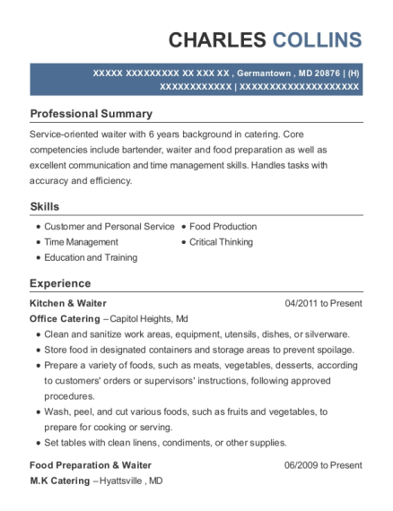 Kitchen & Waiter resume format Maryland