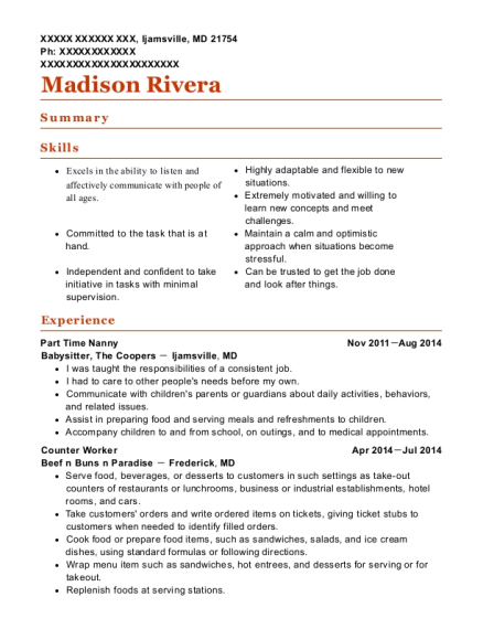 Part Time Nanny resume format Maryland