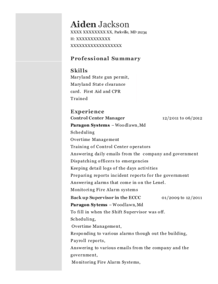 Control Center Manager resume template Maryland