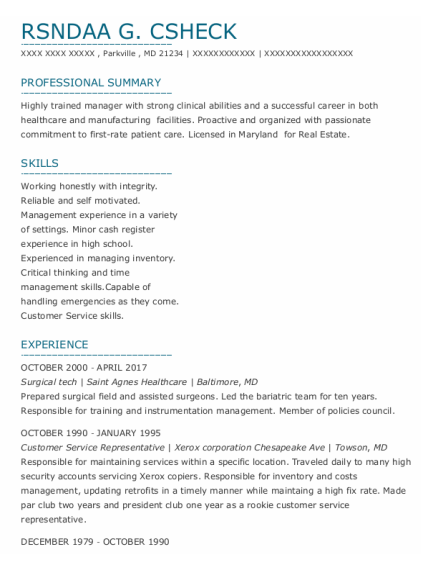 Surgical tech resume template Maryland
