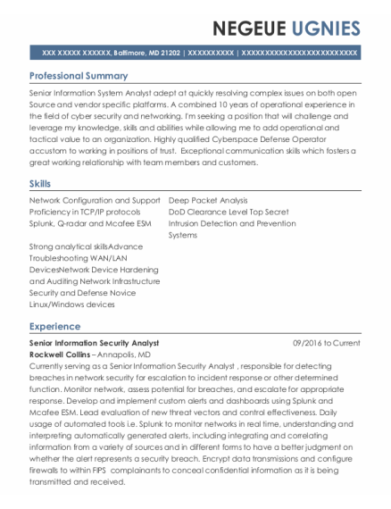 Network Technician resume template Maryland