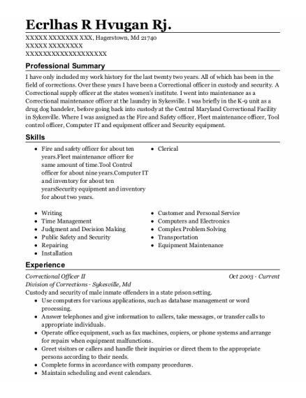 Correctional Officer Ii resume template Maryland