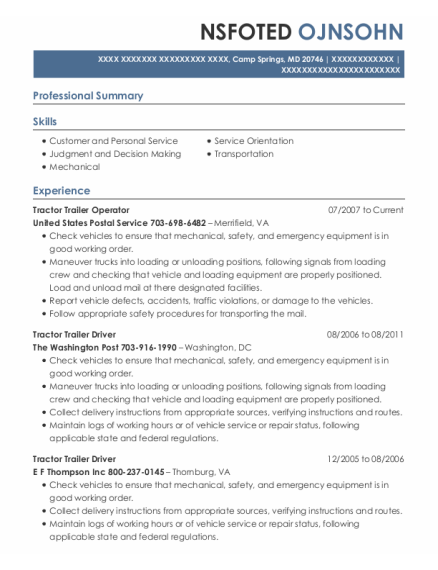 Tractor Trailer Driver resume sample Maryland
