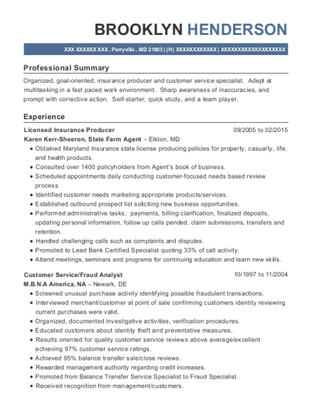 Licensed Insurance Producer resume sample Maryland