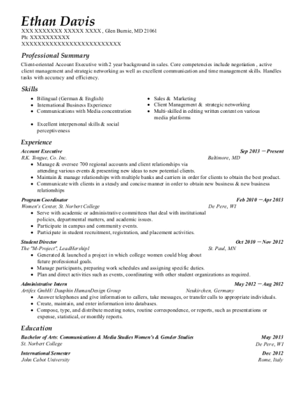 Account Executive resume format Maryland