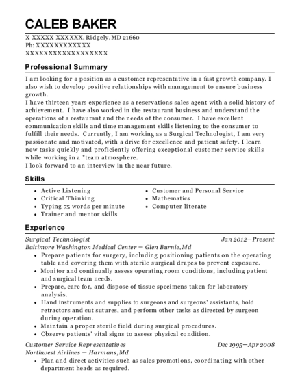 Surgical Technologist resume example Maryland