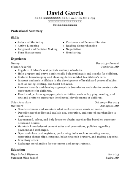 Nanny resume template Maryland