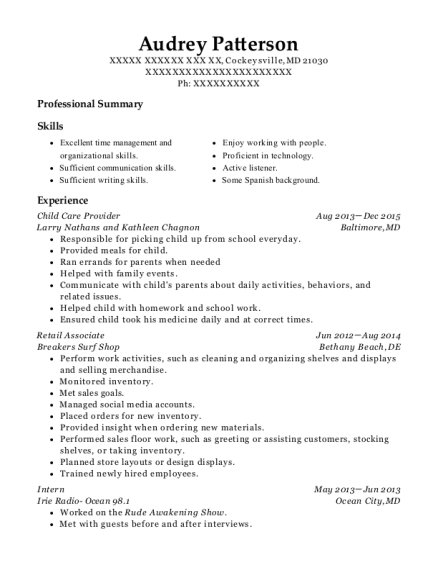 Child Care Provider resume format Maryland