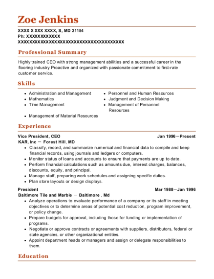 Vice President resume sample Maryland