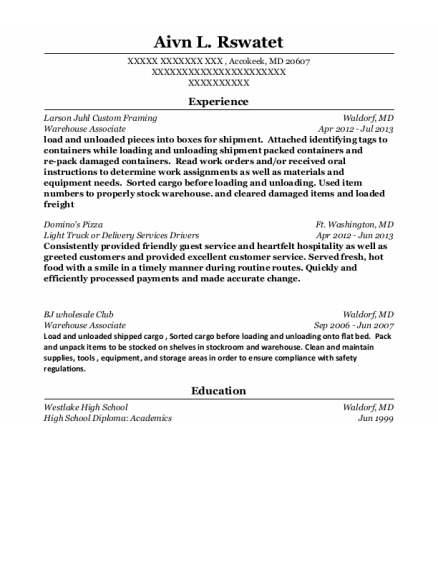 Warehouse Associate resume template Maryland
