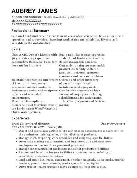 Truck Driver resume example Maryland