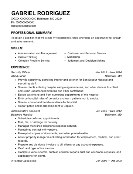 Security Officer resume template Maryland