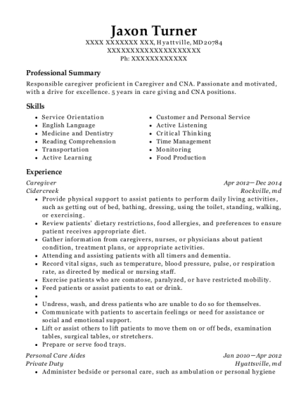 Caregiver resume example Maryland