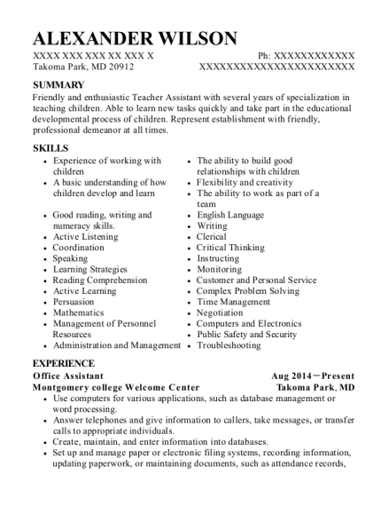 Office Assistant resume template Maryland