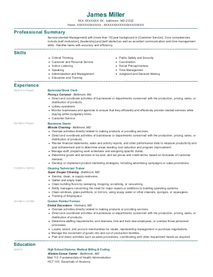 Bartender resume format Maryland