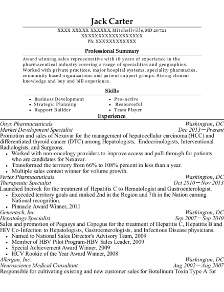 Market Development Specialist resume example Maryland