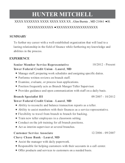 Senior Member Service Representative resume sample Maryland