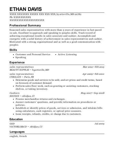 sales representatives resume template Maryland