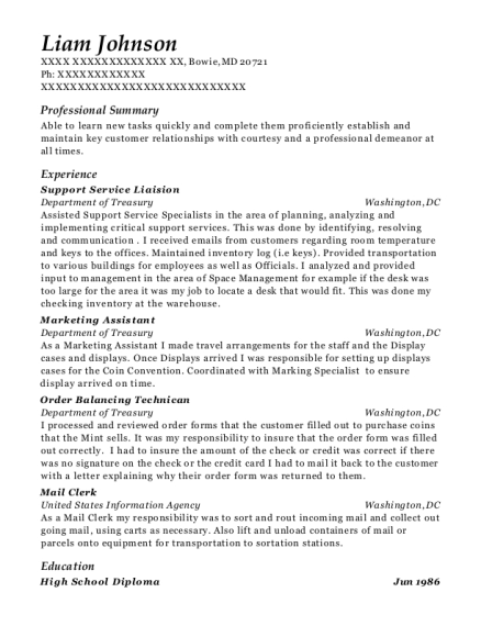 Support Service Liaision resume format Maryland