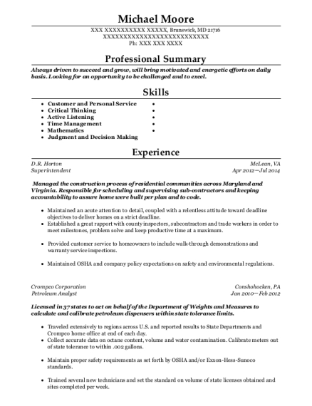 Superintendent resume template Maryland