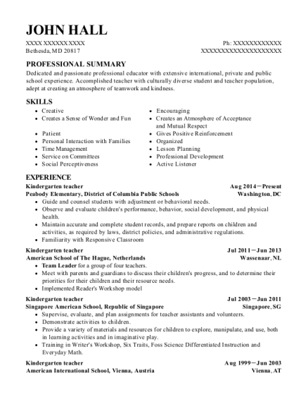 Kindergarten Teacher resume example Maryland