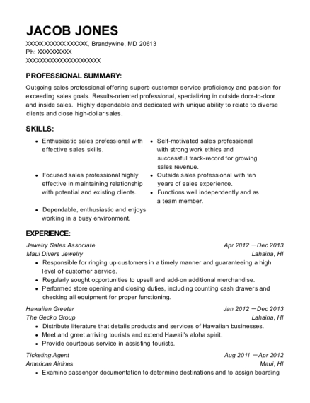 Jewelry Sales Associate resume sample Maryland