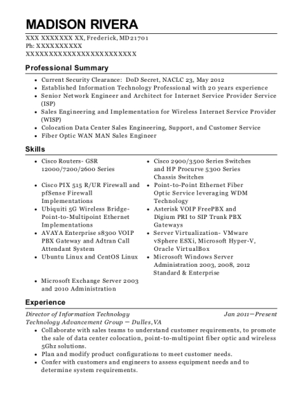 Director of Information Technology resume format Maryland