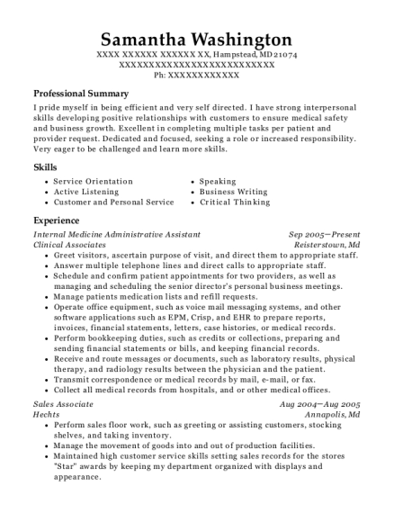 Internal Medicine Administrative Assistant resume example Maryland