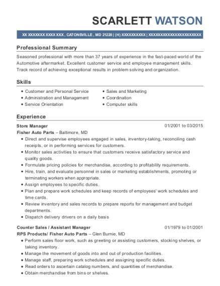 Store Manager resume sample Maryland