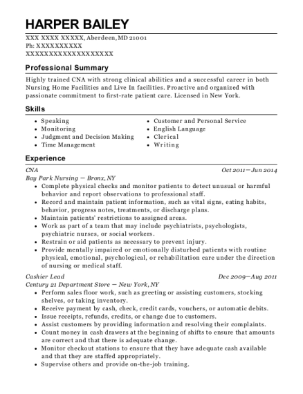CNA resume example Maryland