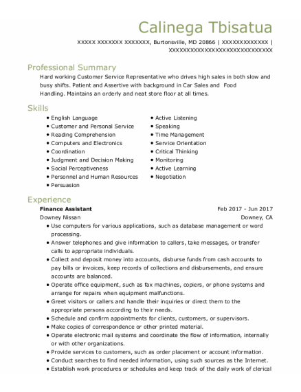 Finance Assistant resume format Maryland