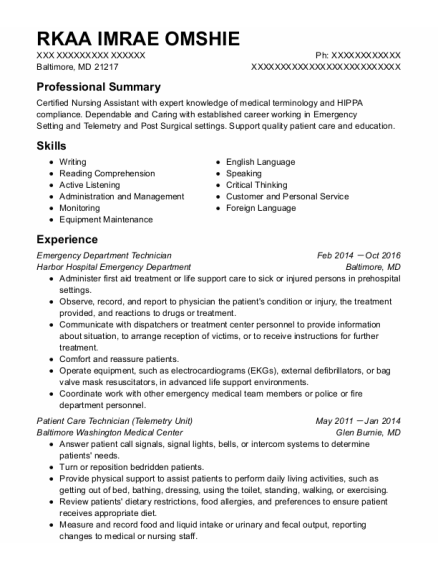 Emergency Department Technician resume template Maryland