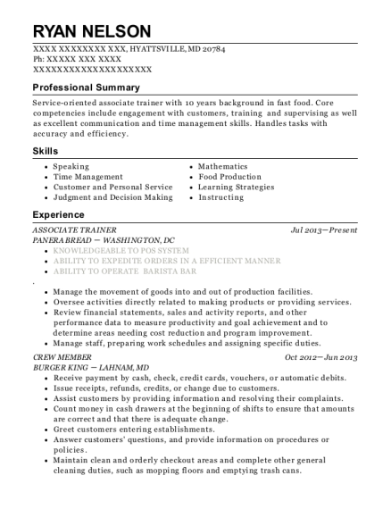 ASSOCIATE TRAINER resume format Maryland